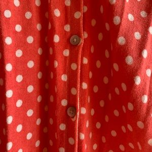 Old Navy Sweaters - Old Navy adorable coral&white polka dot cardigan